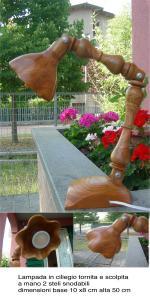 lampada ciliegio tornita scolpita due stelisnodabile